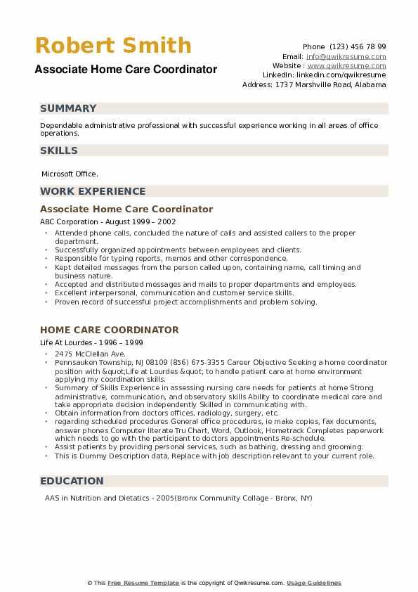Home Care Coordinator Resume example