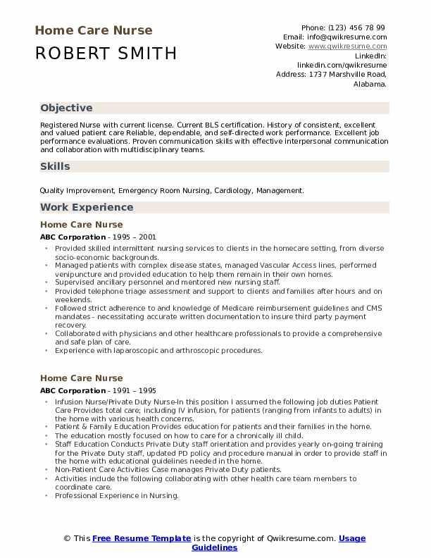 home nurse skills for resume
