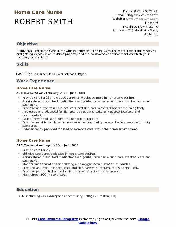 Home Care Nurse Resume example