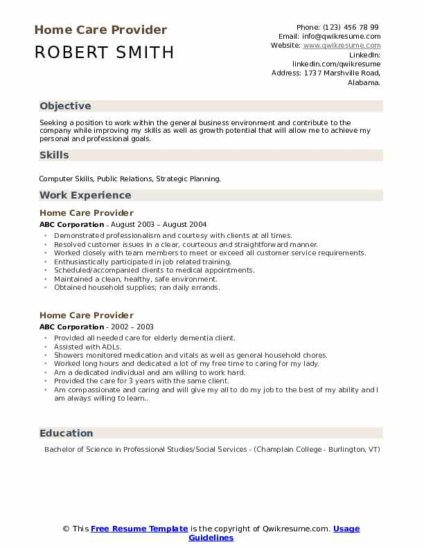Home Care Provider Resume Sample