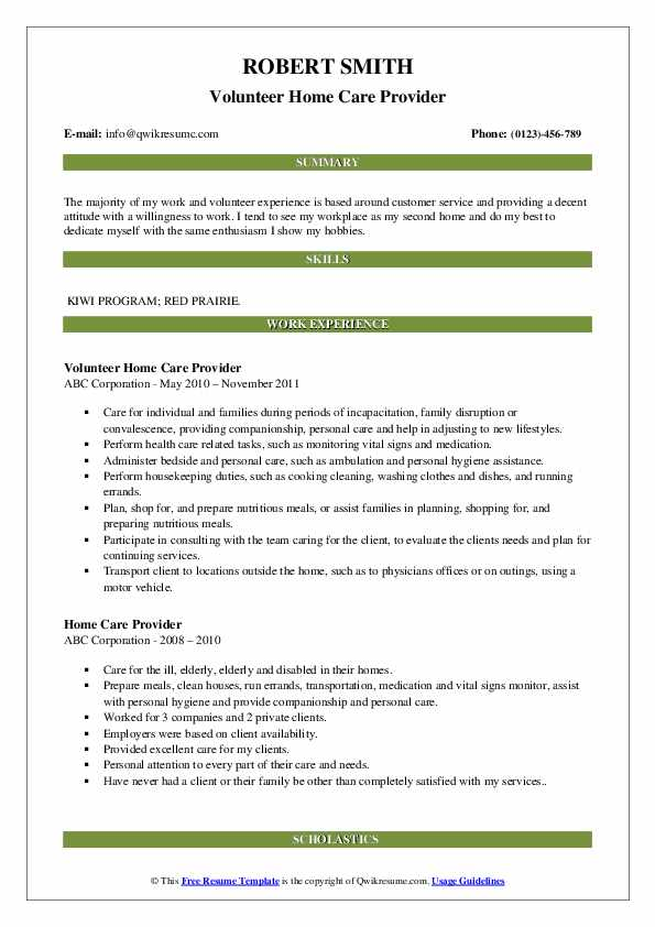 Volunteer Home Care Provider Resume Template