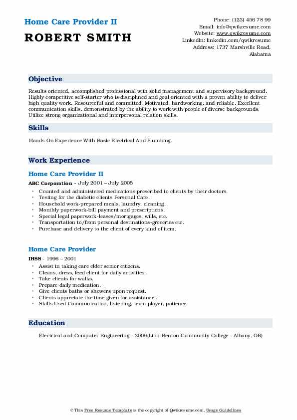 Home Care Provider II Resume Format