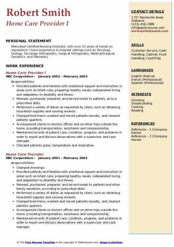 Home Care Provider Resume Samples Qwikresume