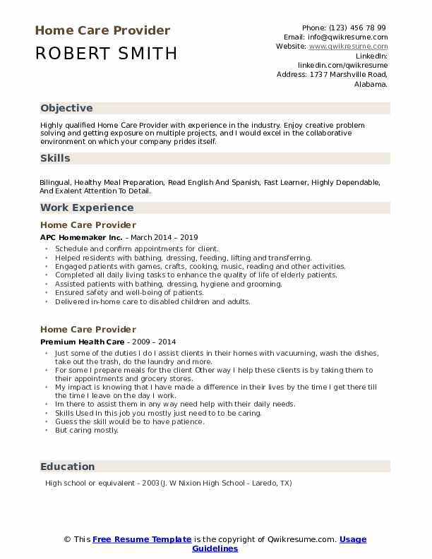 Home Care Provider Resume example