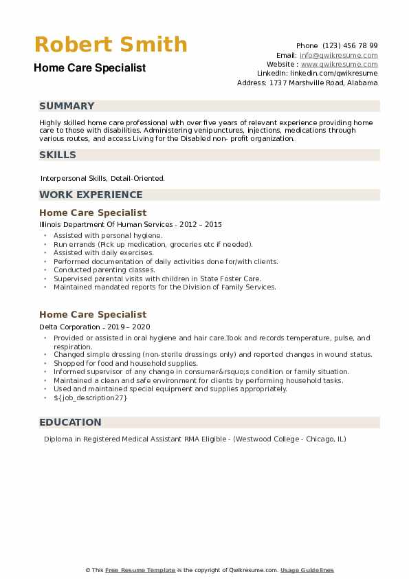 Home Care Specialist Resume example