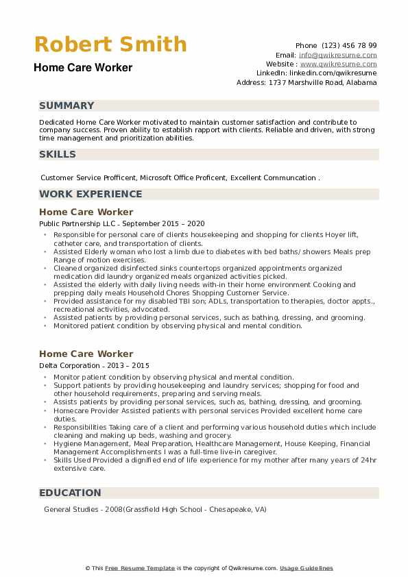 Home Care Worker Resume example