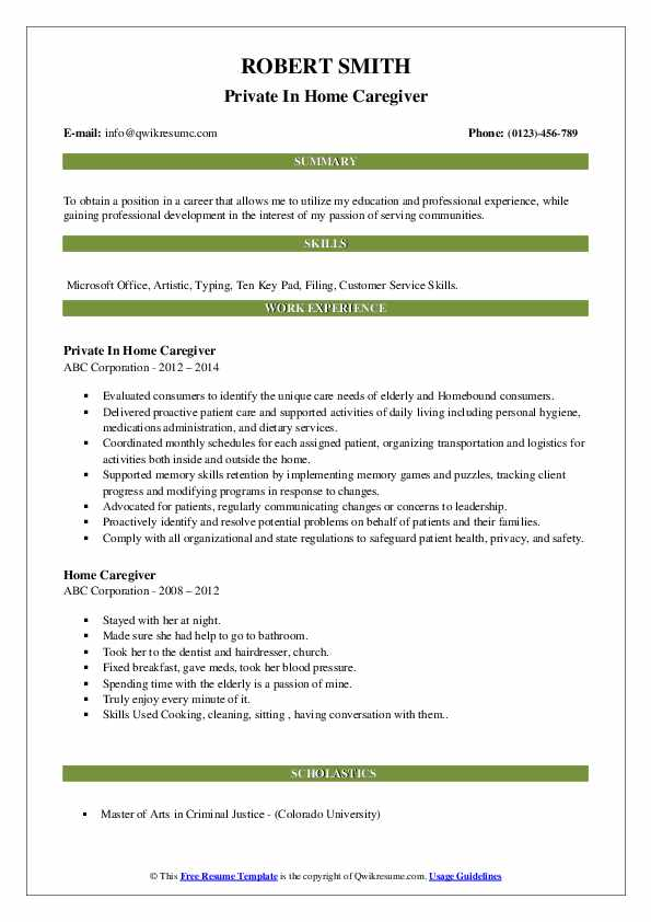Private In Home Caregiver Resume Example