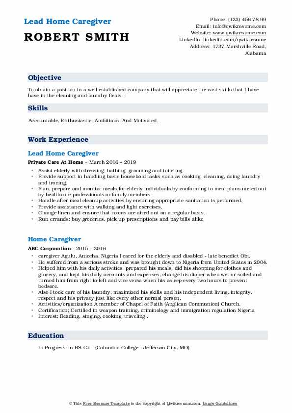 Lead Home Caregiver Resume Example