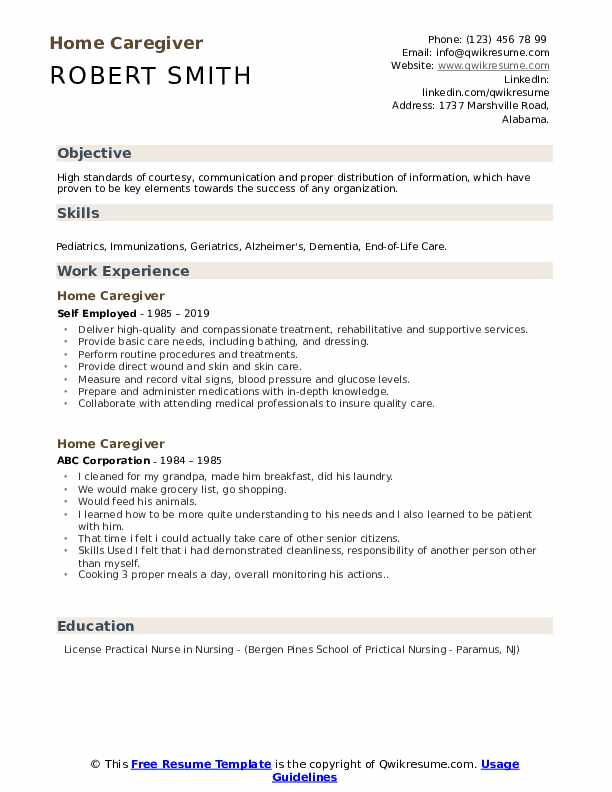 Home Caregiver Resume example