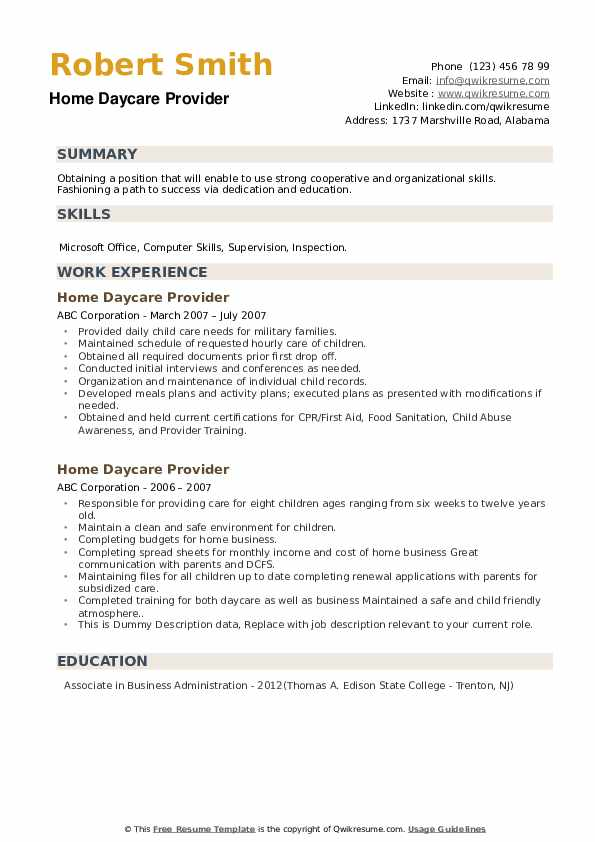 Home Daycare Provider Resume example