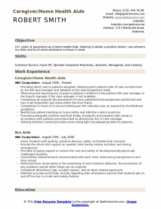 Caregiver/Home Health Aide Resume Example