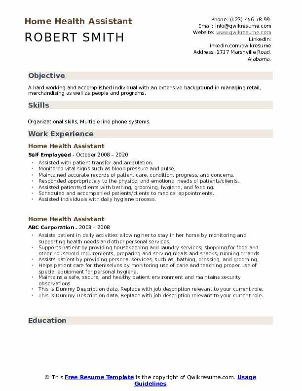 Home Health Assistant Resume example