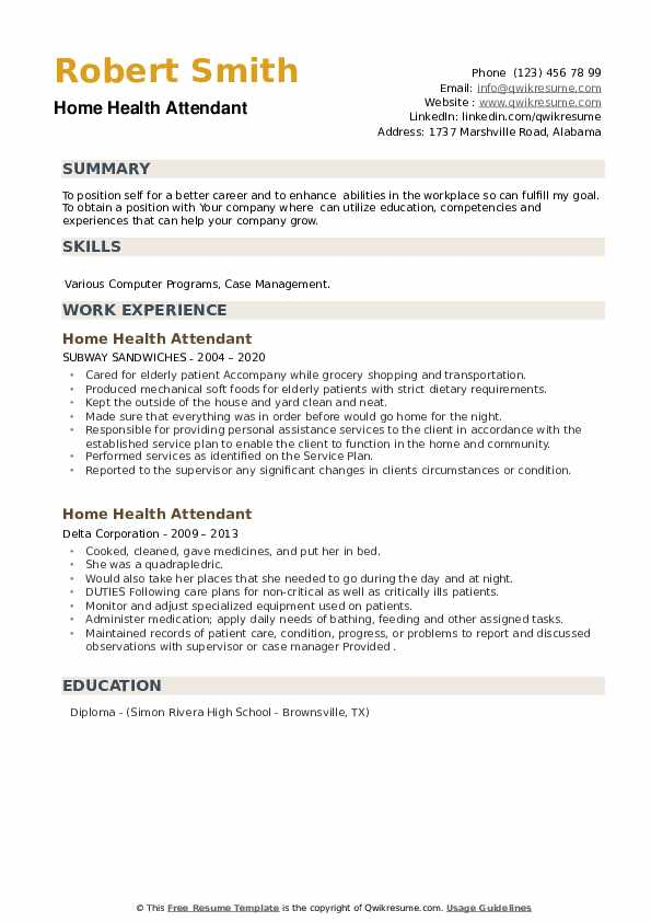 Home Health Attendant Resume example