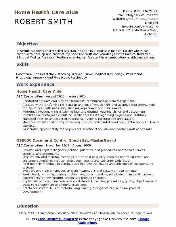 Home Health Care Aide Resume Model