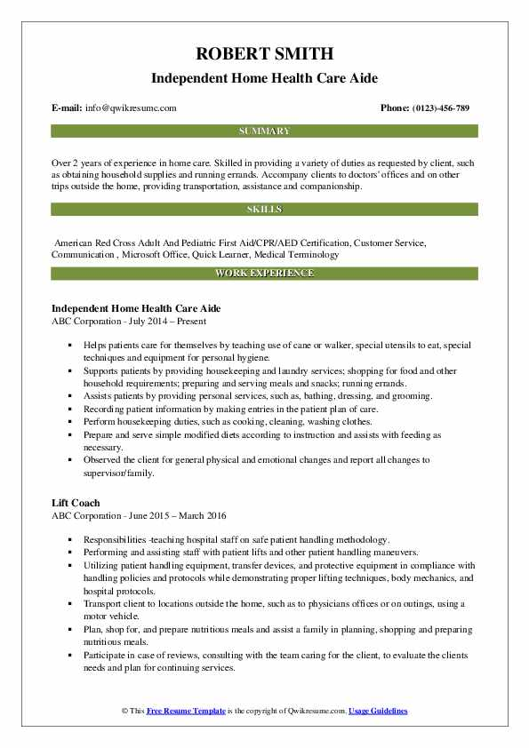 Independent Home Health Care Aide Resume Model