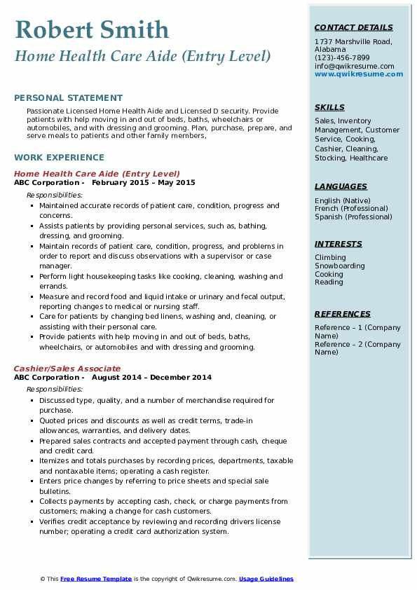 home health care aide resume samples