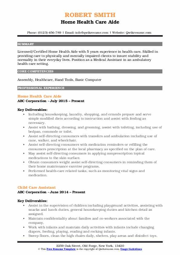 Home Health Care Aide Resume Format