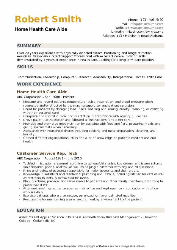 Home Health Care Aide Resume Template