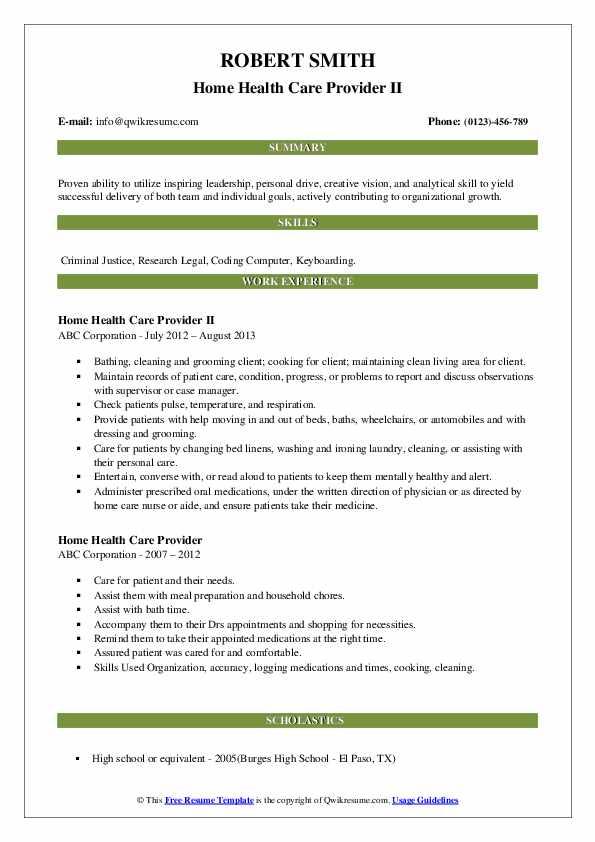 Home Health Care Provider II Resume Format