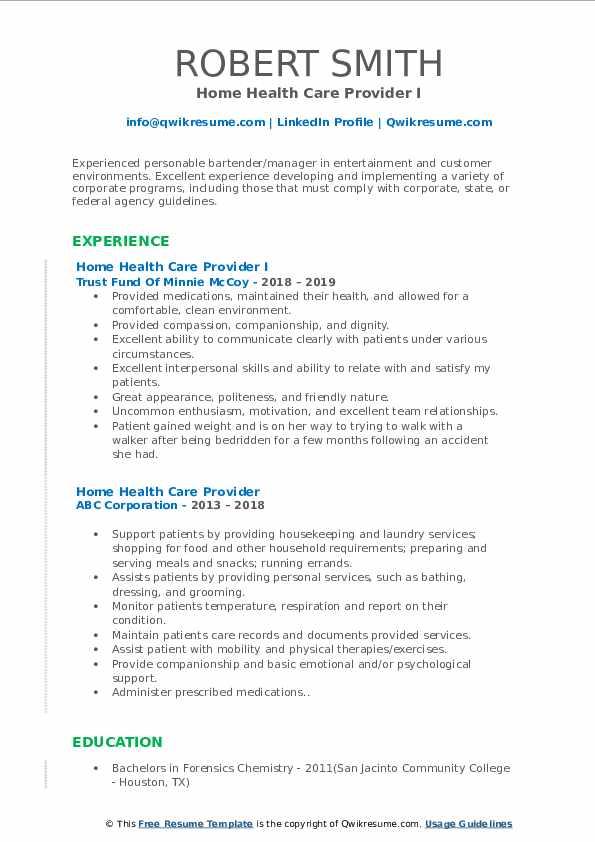 Home Health Care Provider I Resume Sample