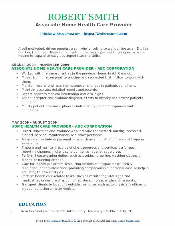 Associate Home Health Care Provider Resume Format