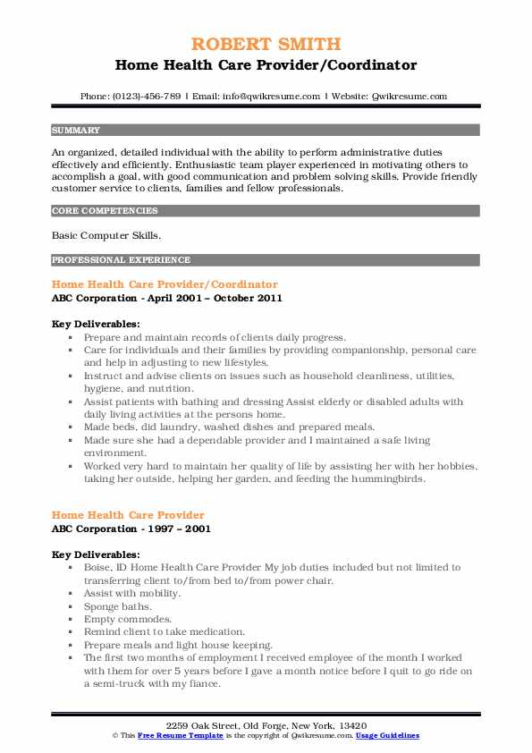 Home Health Care Provider/Coordinator Resume Sample
