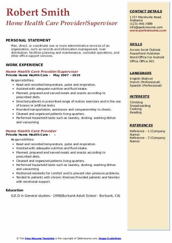 Home Health Care Provider/Supervisor Resume Model