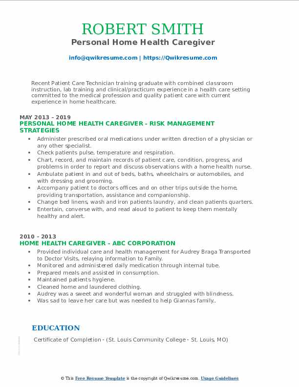 Personal Home Health Caregiver Resume Format