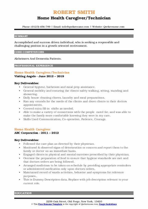Home Health Caregiver/Technician Resume Format