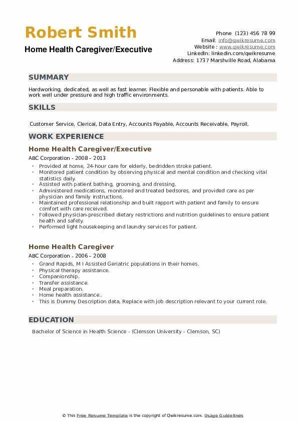 home health caregiver resume samples  qwikresume