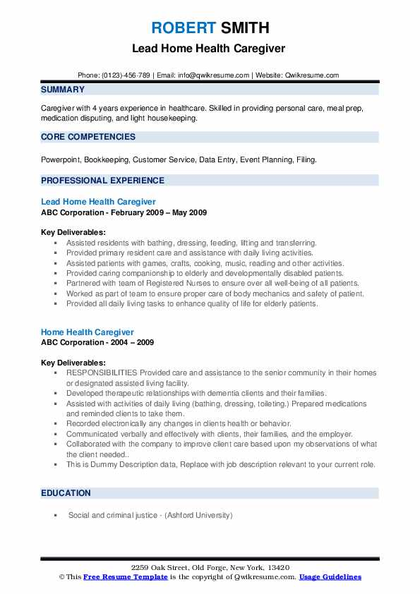 Lead Home Health Caregiver  Resume Example