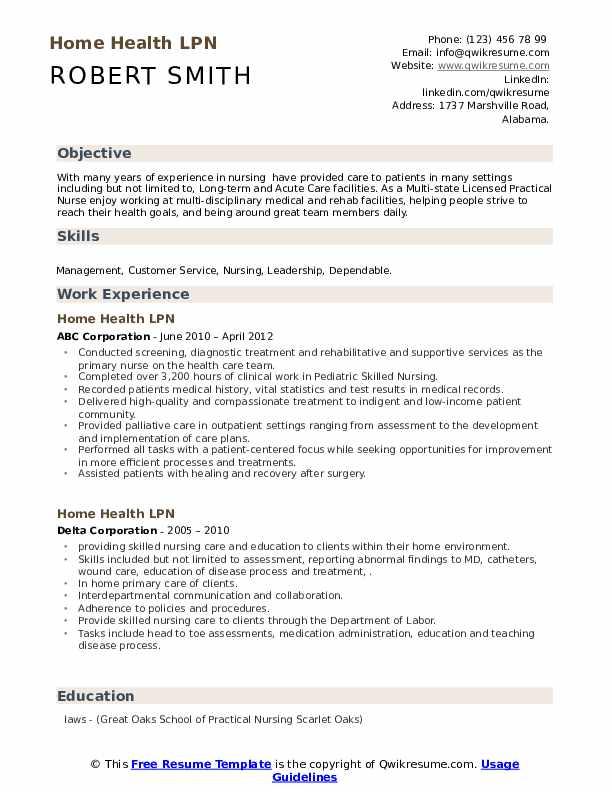 home health lpn resume samples  qwikresume