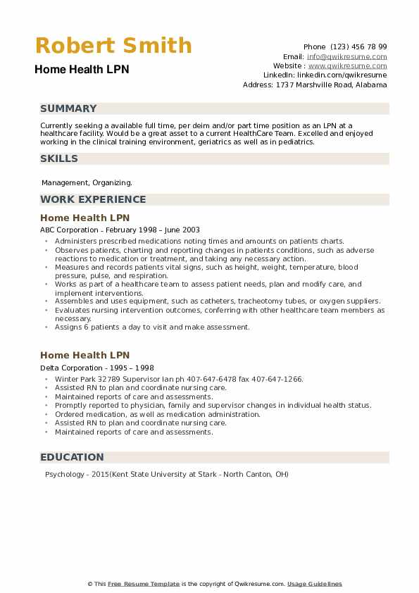 Home Health LPN Resume example