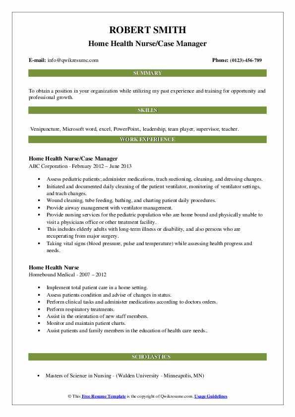 Home Health Nurse Resume Samples Qwikresume