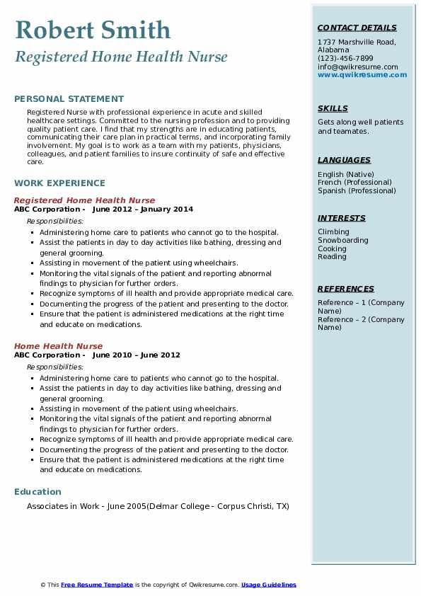 home health nurse resume samples