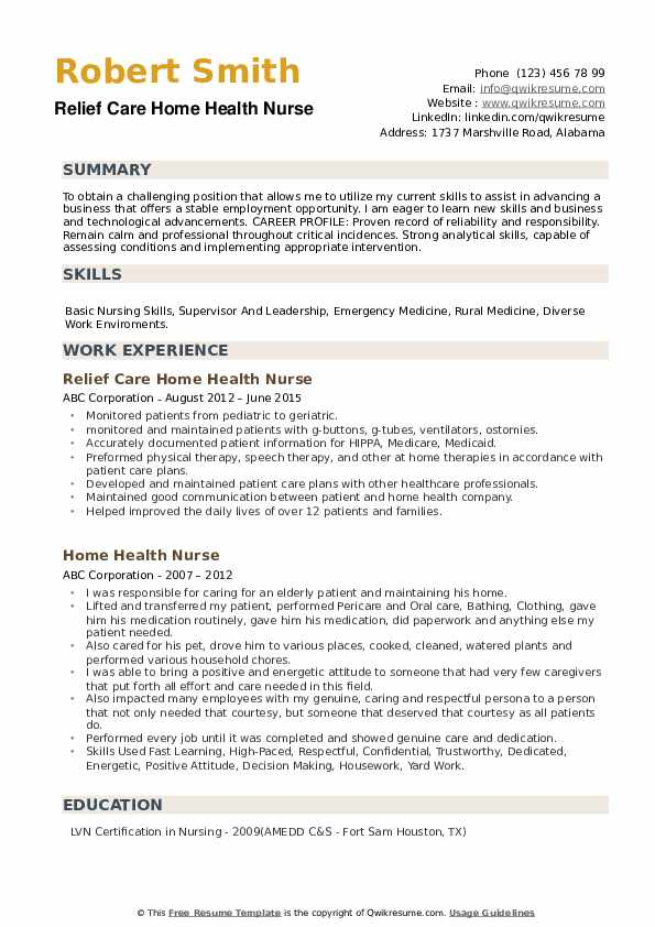 Home Health Nurse Resume Samples Qwikresume