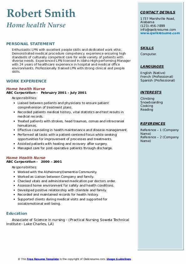 Home Health Nurse Resume Samples