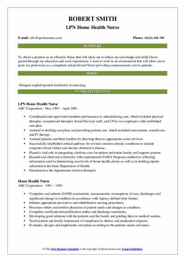 Occupational Health Nurse II Resume Template