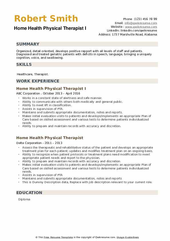 Home Health Physical Therapist Resume example
