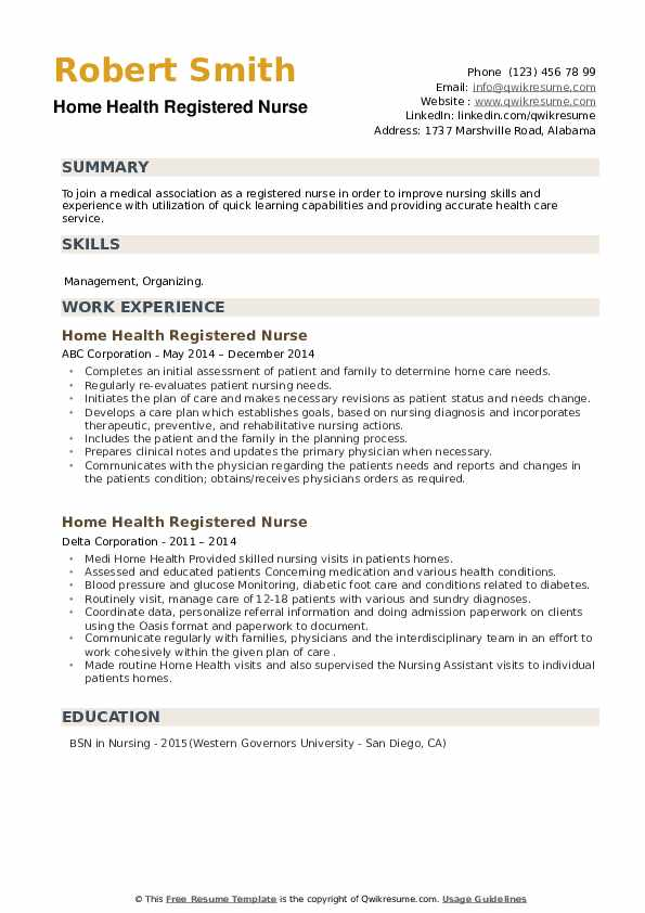Home Health Registered Nurse Resume example