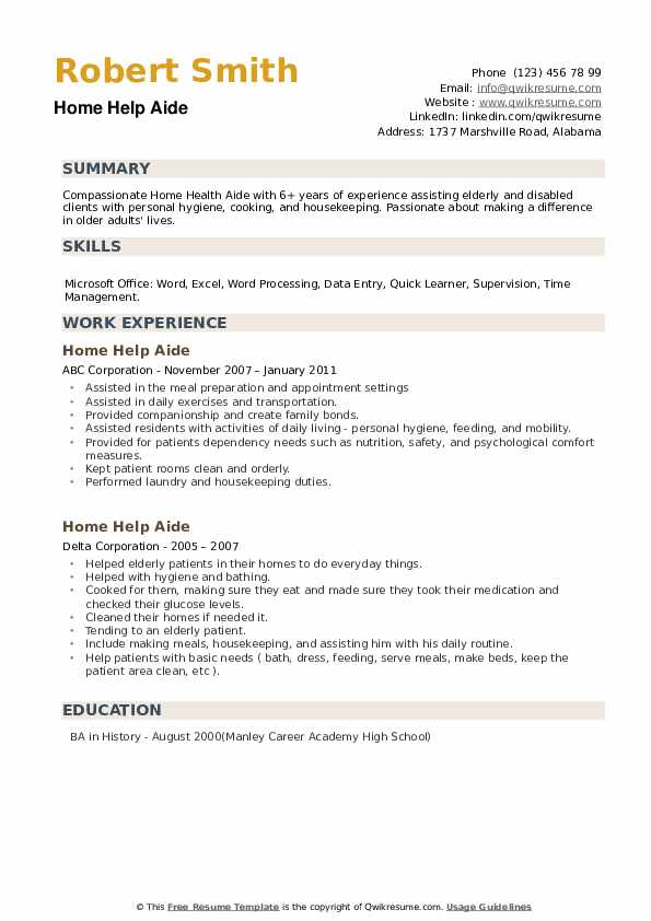 Home Help Aide Resume example