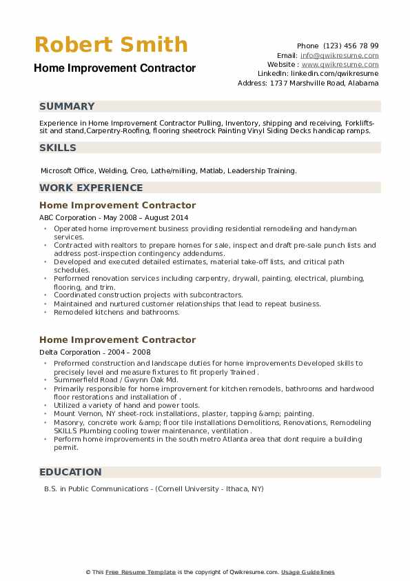 Home Improvement Contractor Resume example