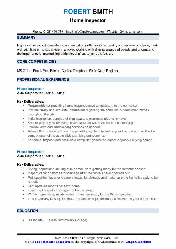 Home Inspector Resume example
