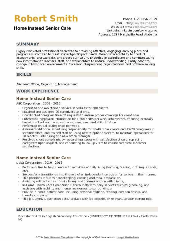 Home Instead Senior Care Resume example