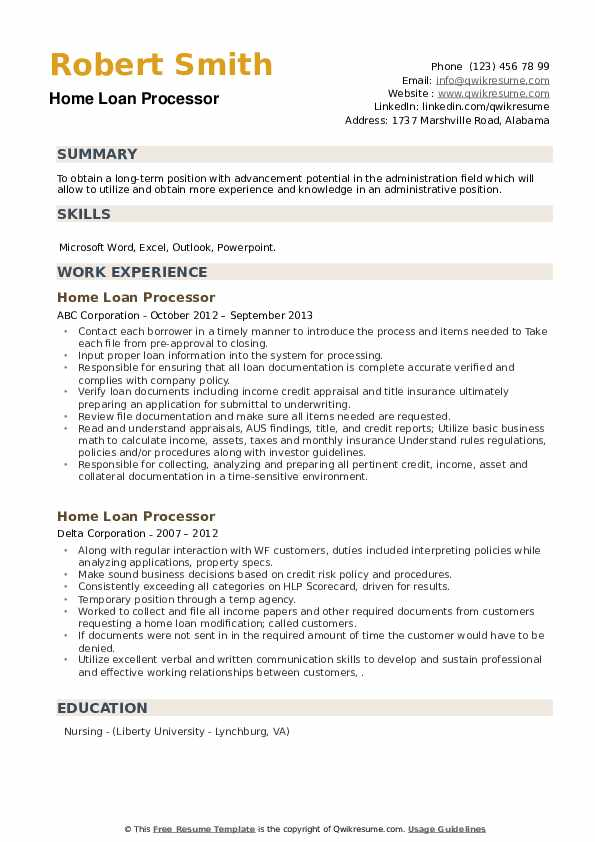 Home Loan Processor Resume example