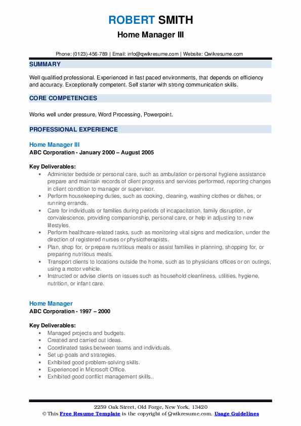 Home Manager III Resume Format