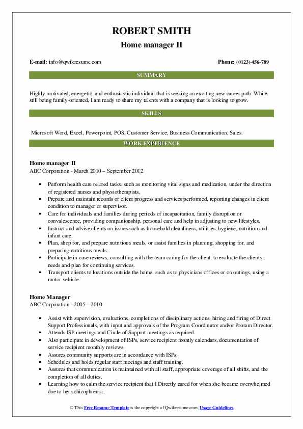 Home manager II Resume Template