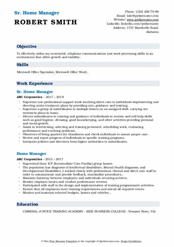 Sr. Home Manager Resume Example