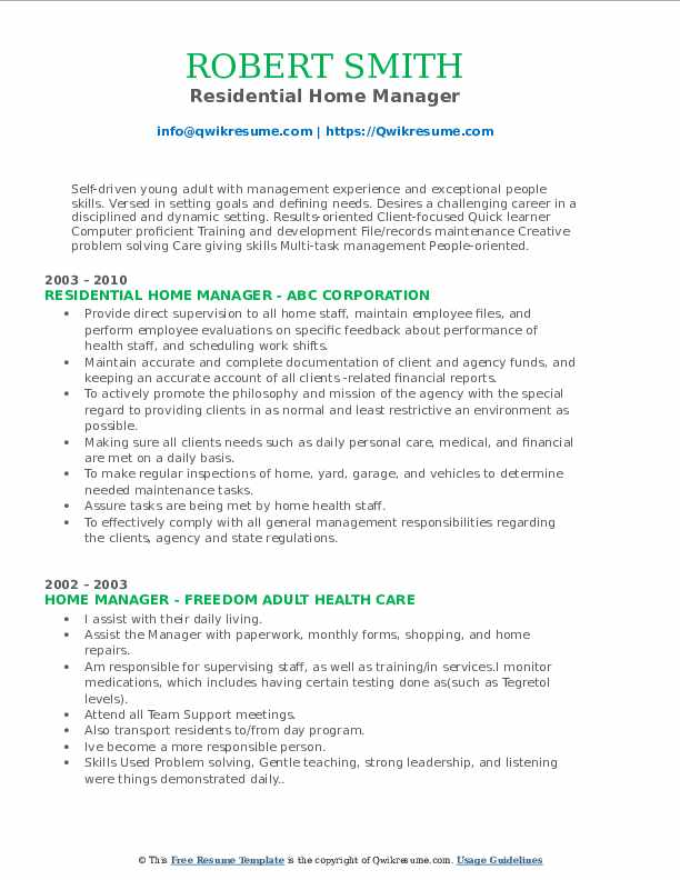 Residential Home Manager Resume Template
