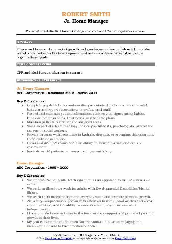 Jr. Home Manager Resume Sample